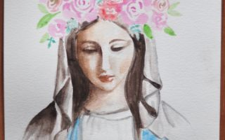 Mary May Crowning Watercolor