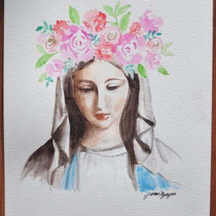 Mary May Crowning Watercolor