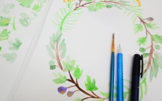 Painting simple leaf wreath