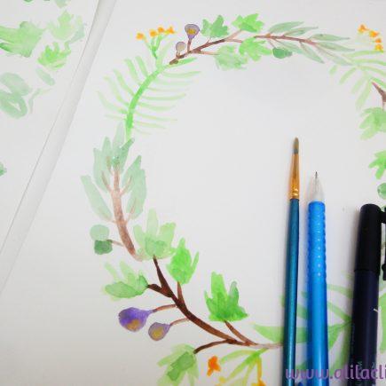 Painting simple leaf wreath