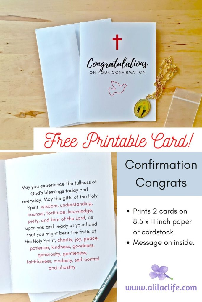 Free Printable Confirmation Congratulations Card