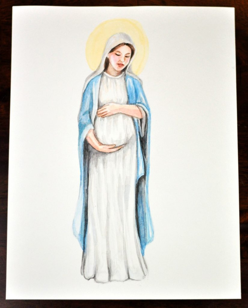 Mary Pregnant with Jesus Watercolor Art