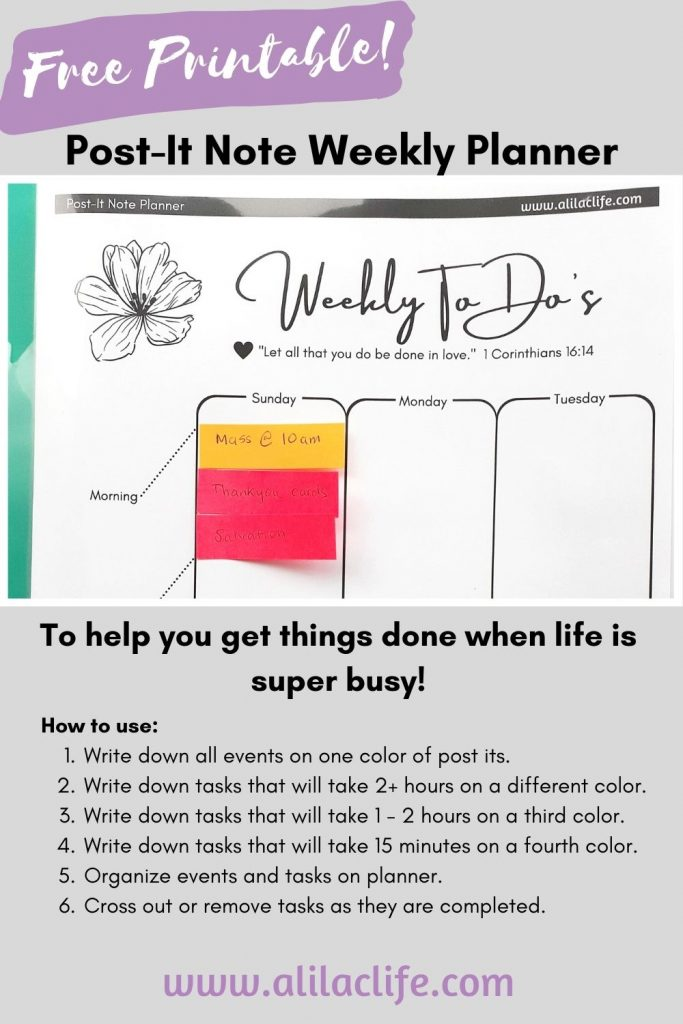 how to post-it note planner