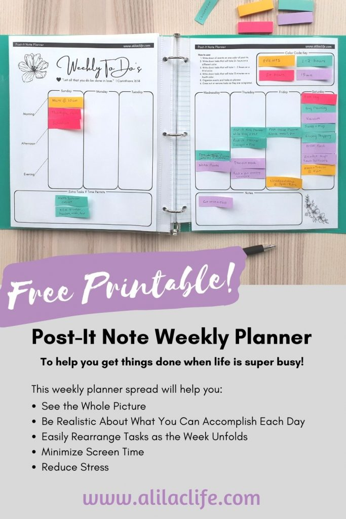 free post-it note planner weekly spread to increase productivity