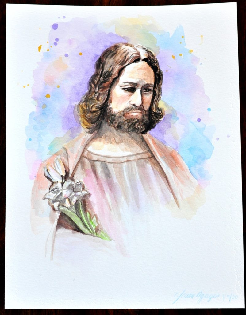 Saint Joseph Guardian and Protector Watercolor Art