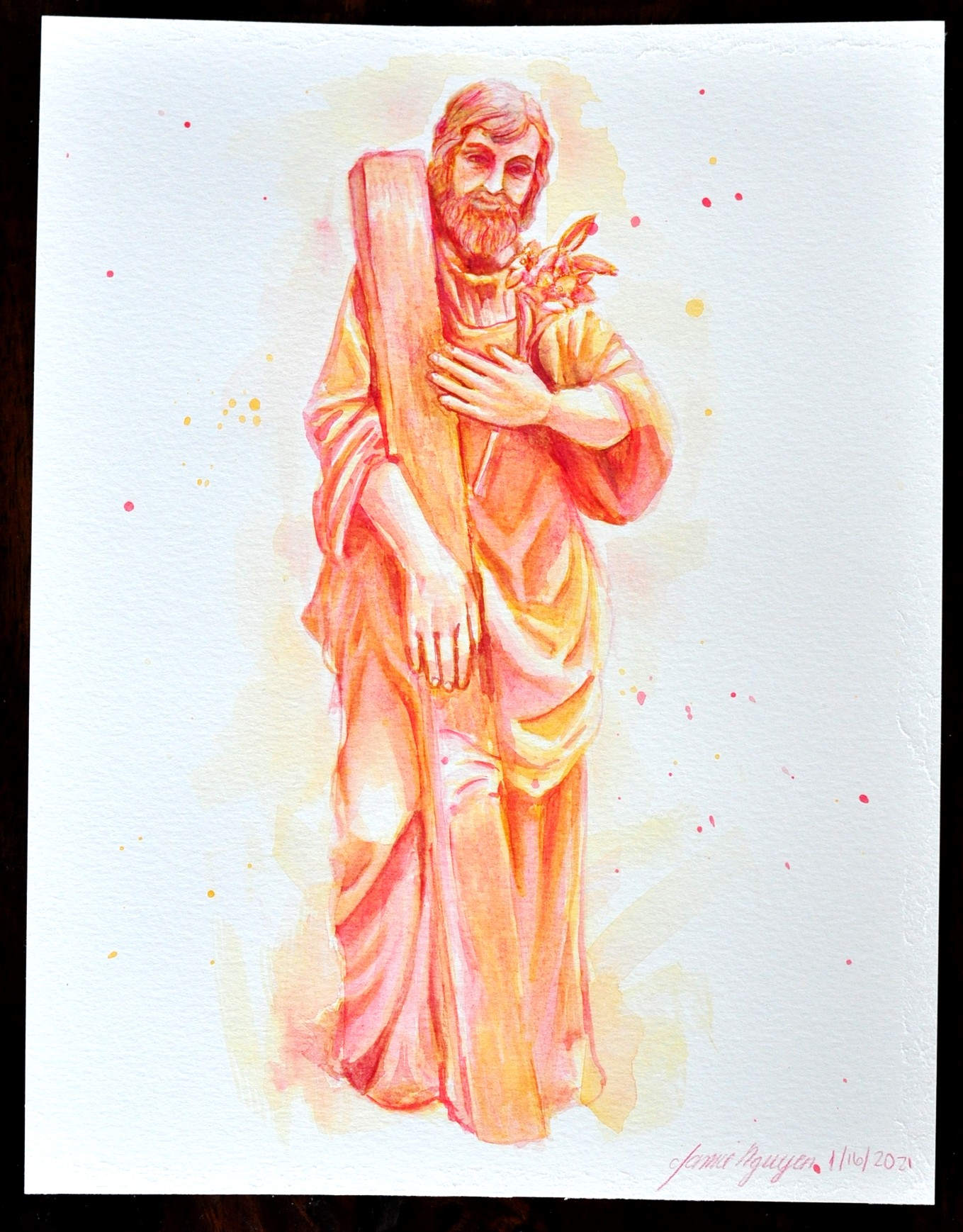 Saint Joseph the Worker Watercolor Art