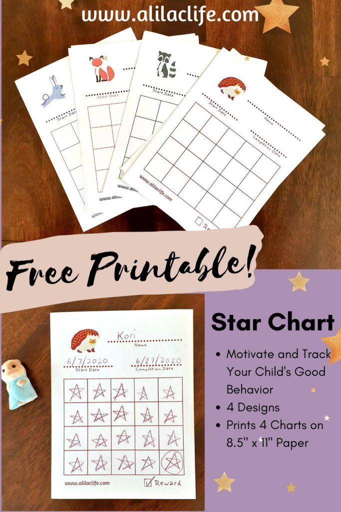 Free printable star chart 4 designs