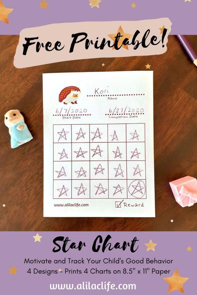 Free Printable Star Chart Hedgehog