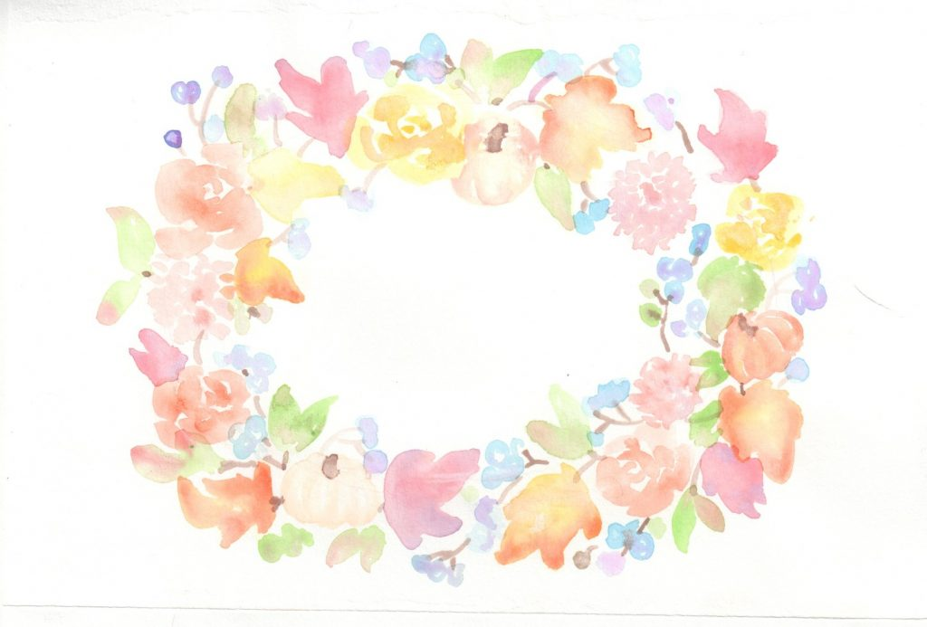 easy fall watercolor floral wreath