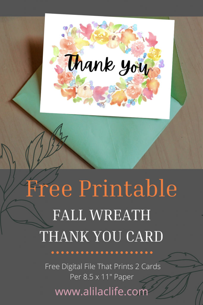 free printable fall watercolor floral wreath thank you card