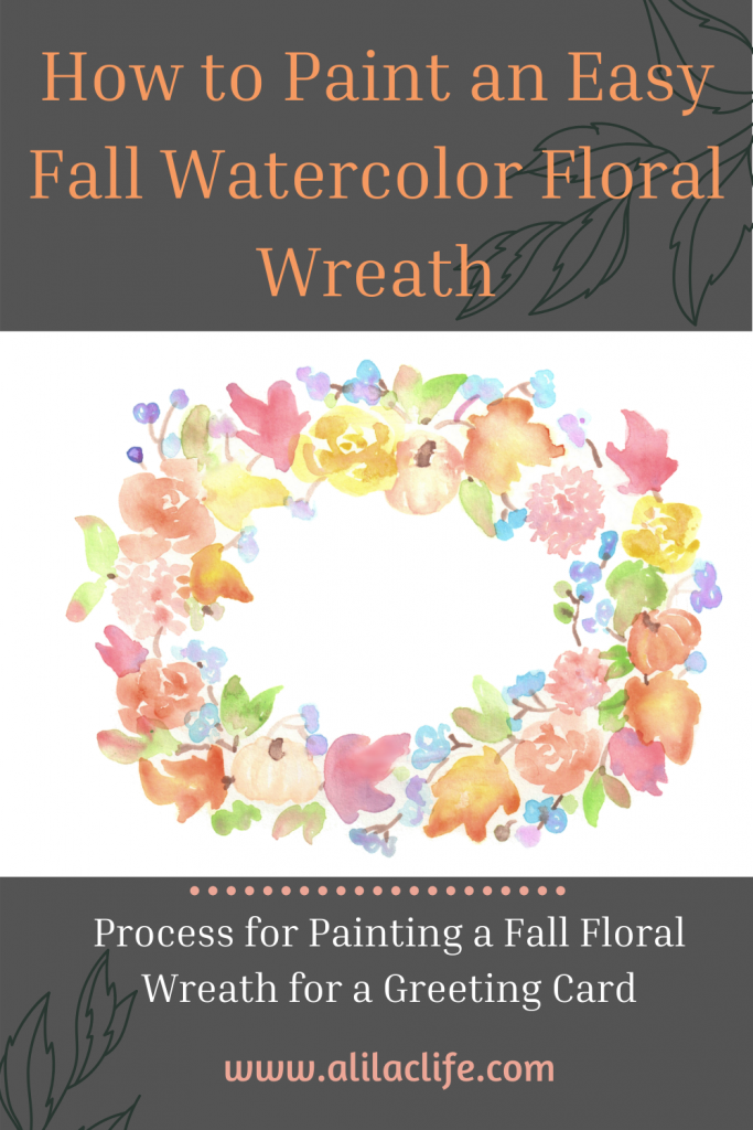 How to paint an easy fall watercolor floral wreath