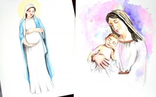 Mary Watercolor Art