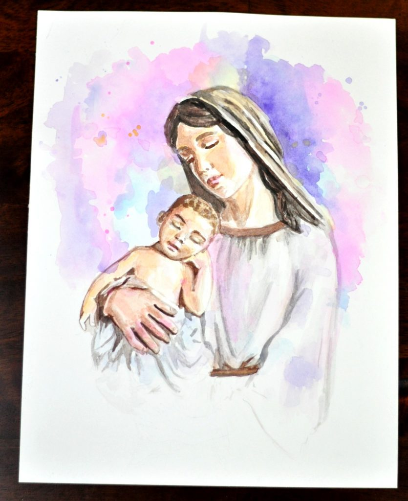 Mary Mother of God Watercolo Mary and Baby Jesus
